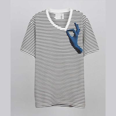 摩達客-韓國進口EXO合作設計品牌DBSW Dont Drag 別拉橫紋短袖T恤