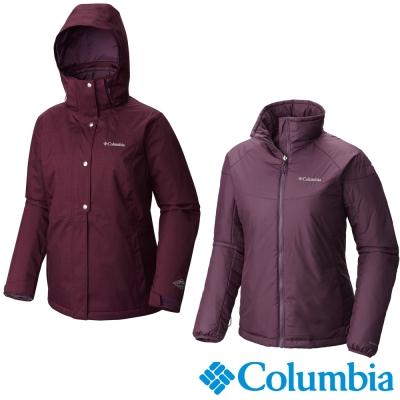 【Columbia哥倫比亞】女-兩件式防水保暖外套-暗紫 UWR11520DL