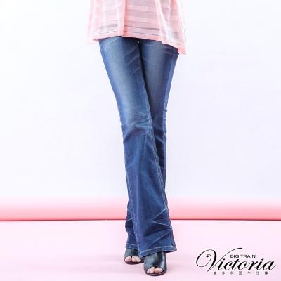 Victoria 低腰立體水洗靴型褲-女-中藍