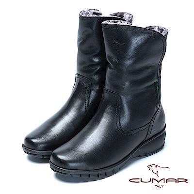 CUMAR絨毛雪靴舒適鞋底真皮短靴-黑