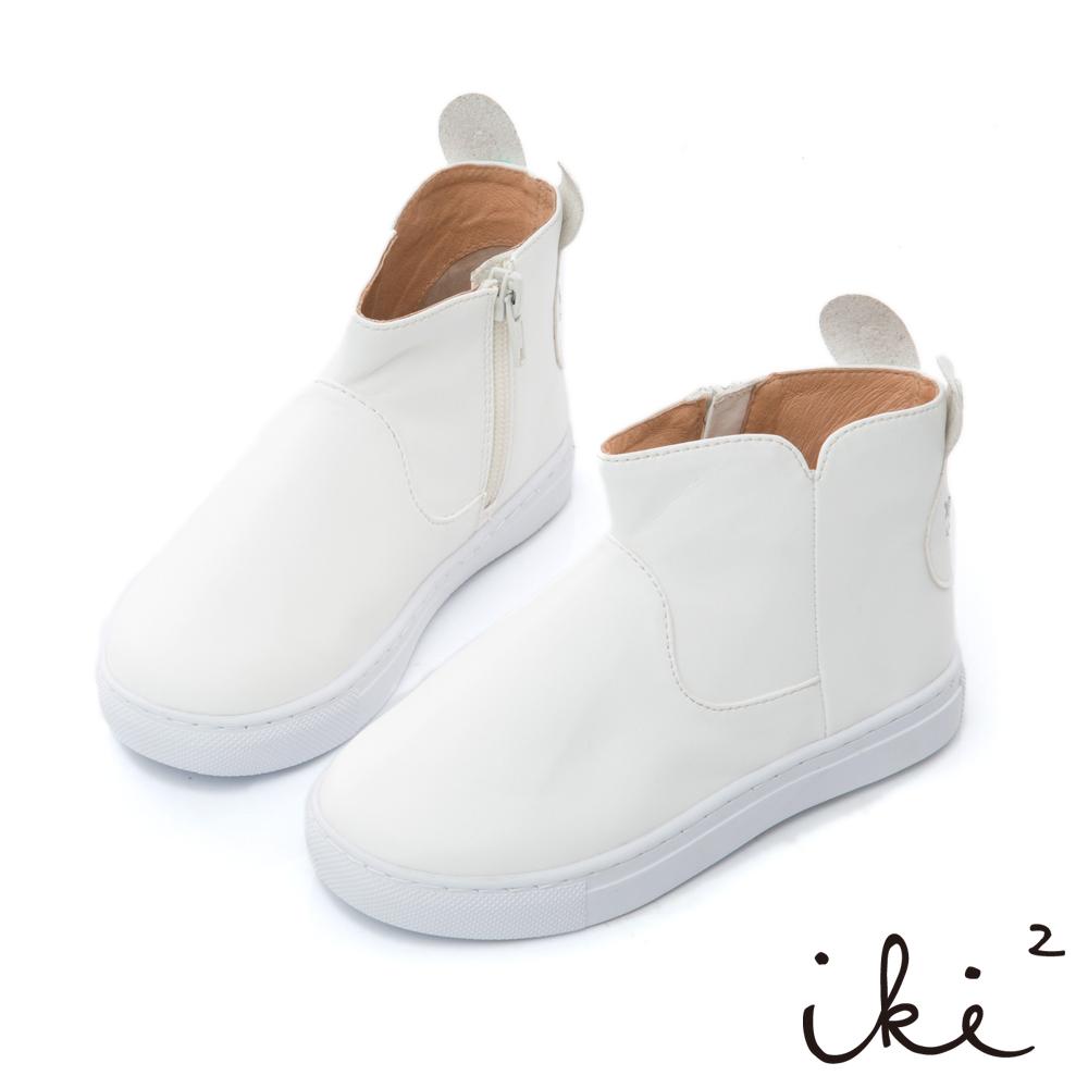 iki2童鞋 咕妮兔親子造型百搭短靴-白