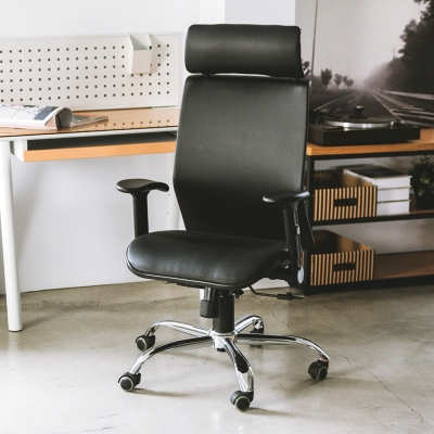 Home Feeling 皮革高背頭靠美型機能鐵腳電腦椅/辦公椅