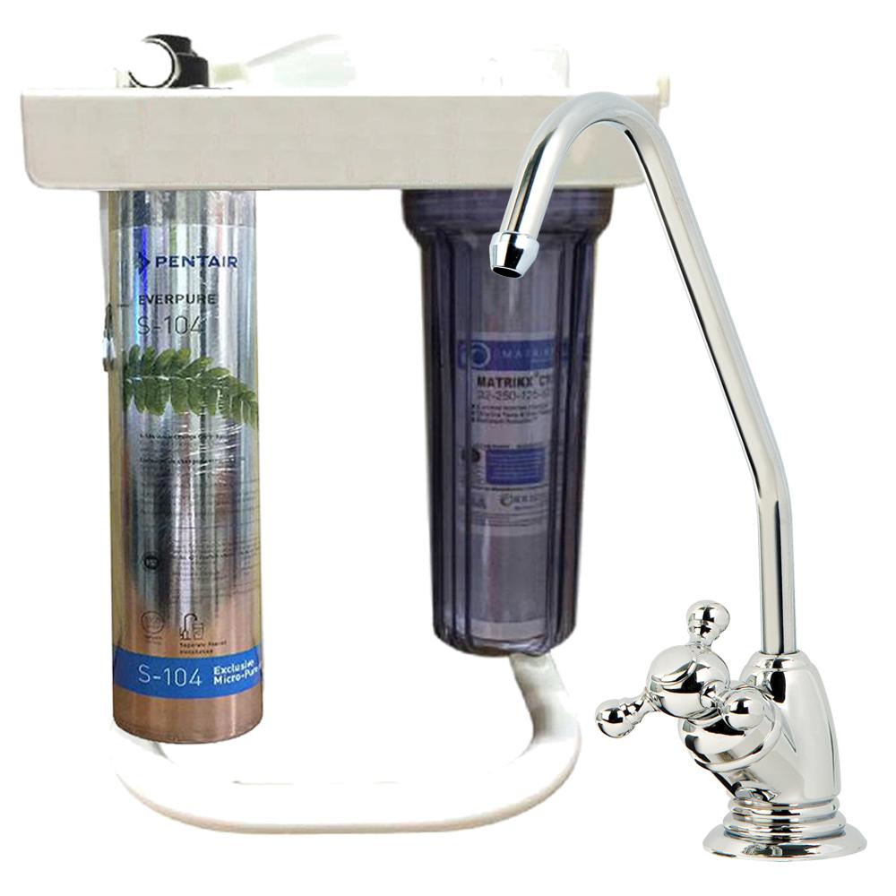 EVERPURE淨水器 S-104搭配活性碳KX濾芯淨水兩道立架淨水器