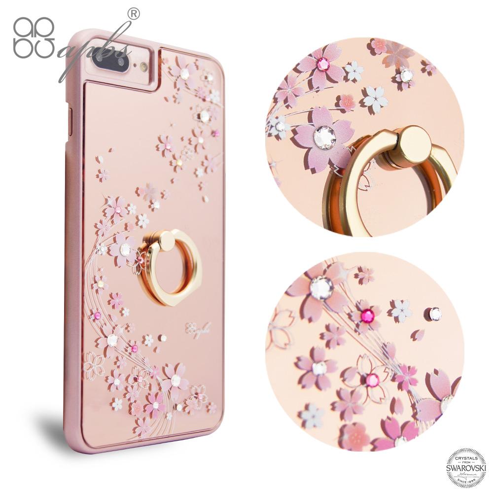 apbs iPhone8/7/6s/6 Plus 5.5吋施華彩鑽鏡面指環扣手機殼-天籟之櫻