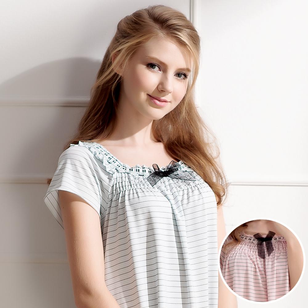 羅絲美睡衣 - 童話甜心短袖洋裝睡衣(俏麗粉)