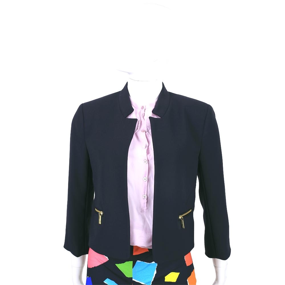 MICHAEL KORS 深藍色拉鍊口袋設計七分袖外套