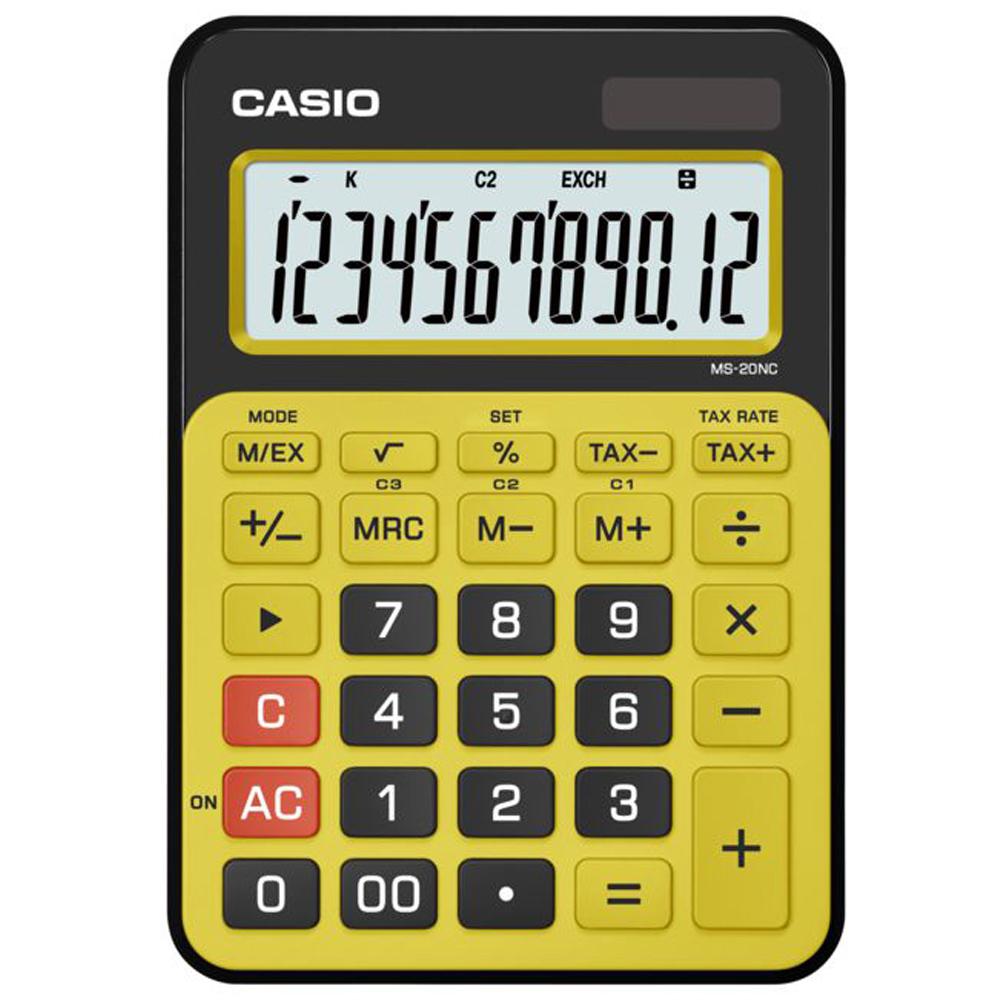 CASIO 12位數時尚多彩桌上型計算機(MS-20NC-BYW)黑/黃.