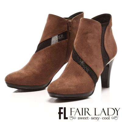 Fair Lady 美型麂絨透膚高跟短靴 芋