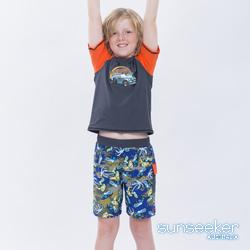 澳洲Sunseeker泳裝抗UV防曬短袖泳衣-大男童上衣/汽車深灰