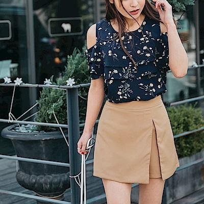 開衩設計質感純色假兩件短褲/裙-OB大尺碼