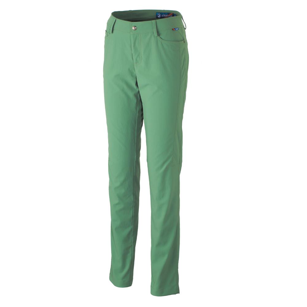 【Wildland 荒野】女彈性耐磨抗UV合身長褲-綠