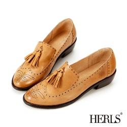 HERLS 全真皮雕花流蘇樂福低跟鞋-駝色