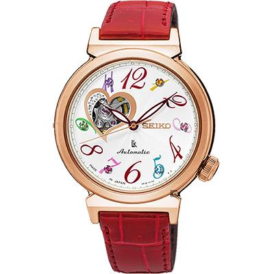 SEIKO 精工 LUKIA 甜蜜心鏤空晶鑽機械腕錶(SSA832J1)