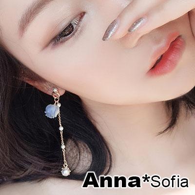 AnnaSofia 名媛萊茵玫瑰 大型耳針耳環(淺藍花)