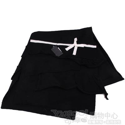 ANNA SUI 優雅造型千層蝴蝶結LOGO羊毛圍巾(黑)