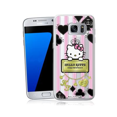 三麗鷗正版 凱蒂貓 三星 Galaxy S7 5.1吋透明軟式保護殼(撲克牌)