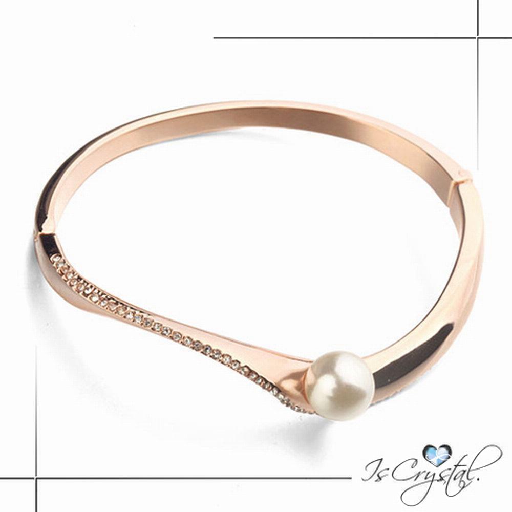 伊飾晶漾iSCrystal 珍珠碎鑽 不規則弧面金手環