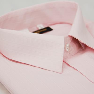 金‧安德森 粉色細紋長袖襯衫