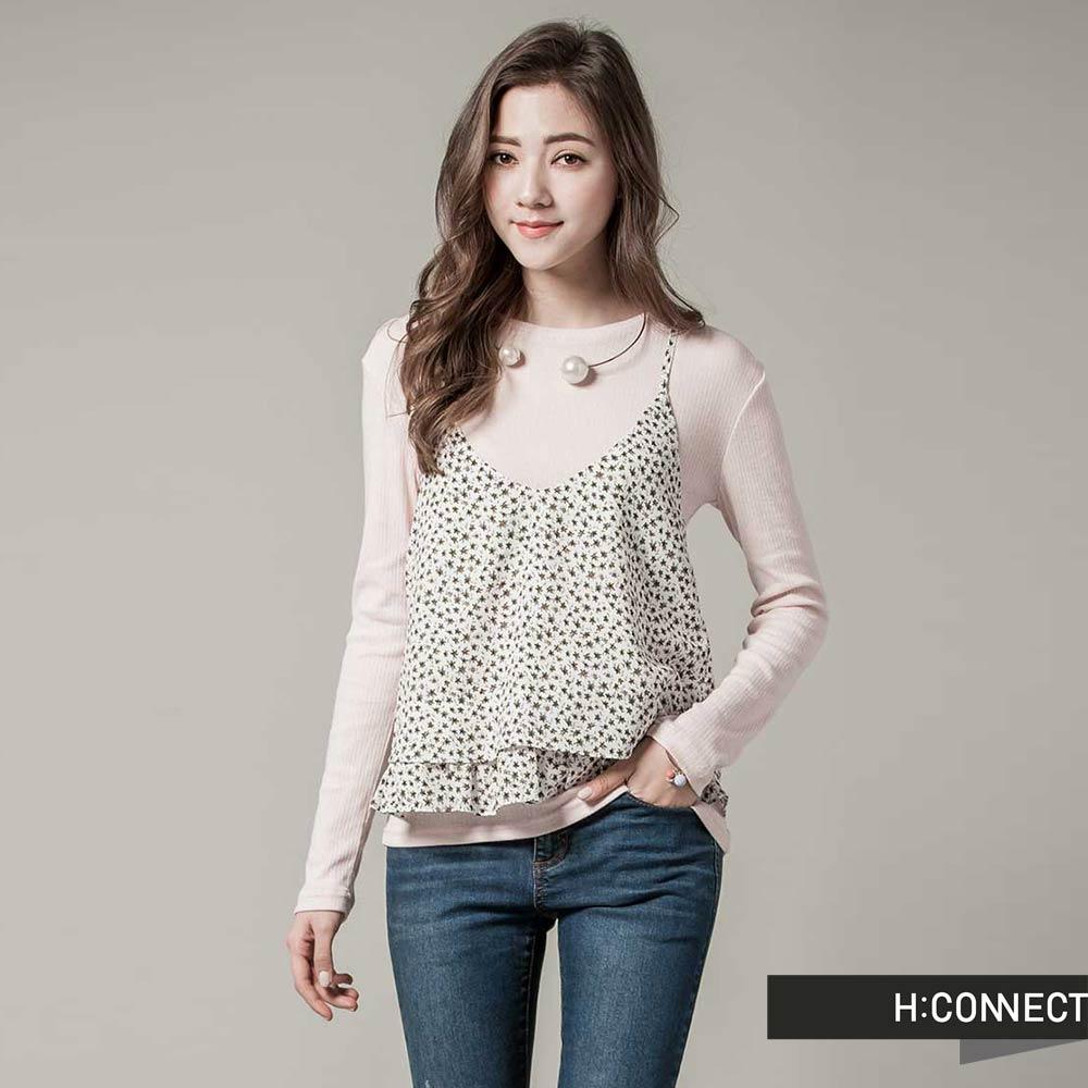 H:CONNECT韓國品牌女裝-V領細肩碎花荷葉邊外搭背心-白快