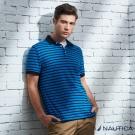 Nautica 清新海洋風透氣短袖POLO衫-藍