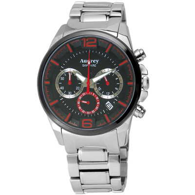 Audrey 歐德利 躍動時尚三眼計時腕錶(AUM5635-A)-黑面X紅/42mm
