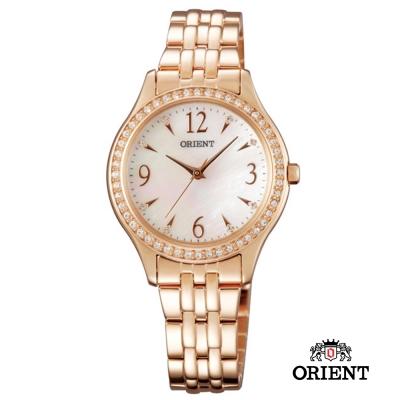 ORIENT 東方錶 DRESS系列 時尚晶亮珍珠女錶-玫瑰金色/30mm