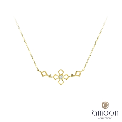 amoon 戀戀東京系列 冰雪 10K金鑽石項鍊-黃K金