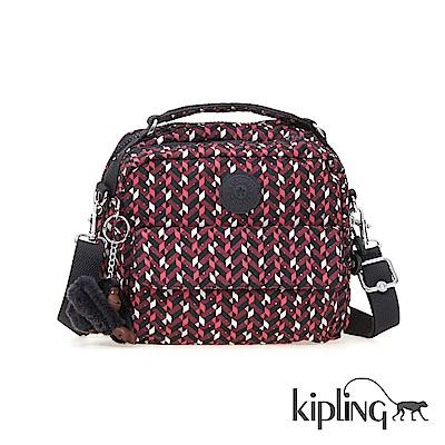 Kipling 後背包 磚紅幾何印花-小