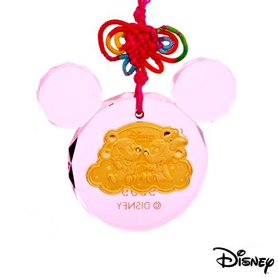 Disney迪士尼金飾 金報喜黃金/水晶鎖片