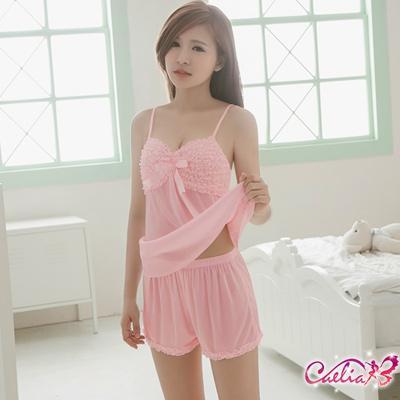 Caelia-粉嫩緞帶二件式睡衣