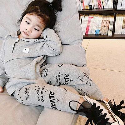 Baby unicorn 灰色字母塗鴉縮口長褲