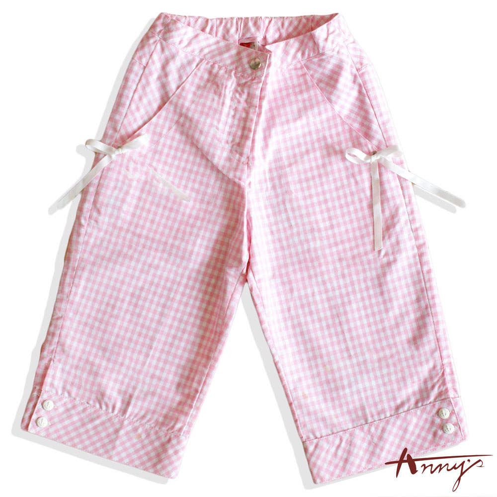 Annys甜美格紋緞帶蝴蝶結鈕扣七分褲*0316粉