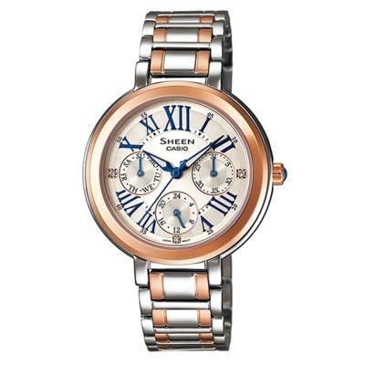 SHEEN 完美閃耀羅馬時刻施華洛世奇腕錶(SHE-3034SG-7A)-銀x玫瑰金邊/34mm