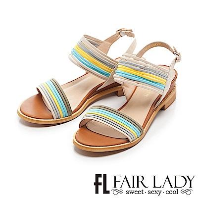 Fair Lady 都會拼色鬆緊帶增高涼鞋 杏