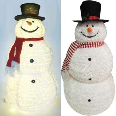 中型(105CM)白色彈簧摺疊雪人玩偶擺飾 (100燈LED燈暖白光插電式)