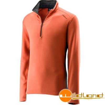Wildland 荒野 0A22502-84橘色 男 彈性奈米銀PILE保暖衣