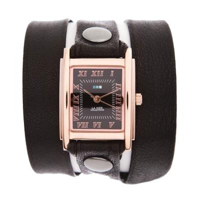 La Mer Collections 黑色皮革錶帶玫瑰金色錶框- 23 mm