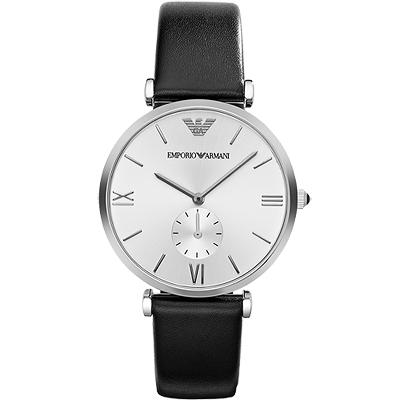 ARMANI Retro 時尚獨立小秒針腕錶-銀/40mm