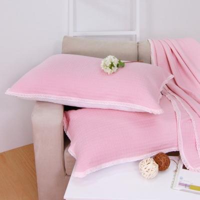 鴻宇HongYew 美國棉 針織枕巾2入 粉