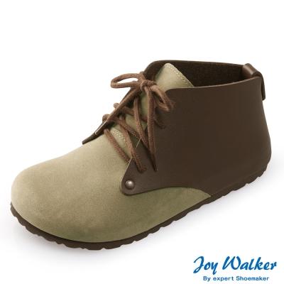 Joy Walker 高筒拼接綁帶包鞋*卡其咖