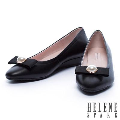 低跟鞋-HELENE-SPARK-珍珠織帶蝴蝶結全真皮羊皮楔型低跟鞋-黑