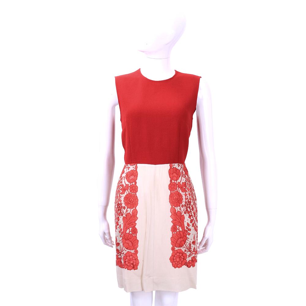 PHILOSOPHY 紅x膚色印花拼接羊毛無袖洋裝