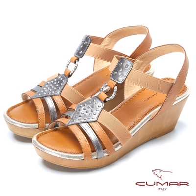CUMAR台灣製造 時尚混搭厚底涼鞋-棕色