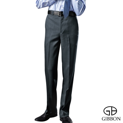 GIBBON 時尚光澤平口西裝褲‧質感灰30-42