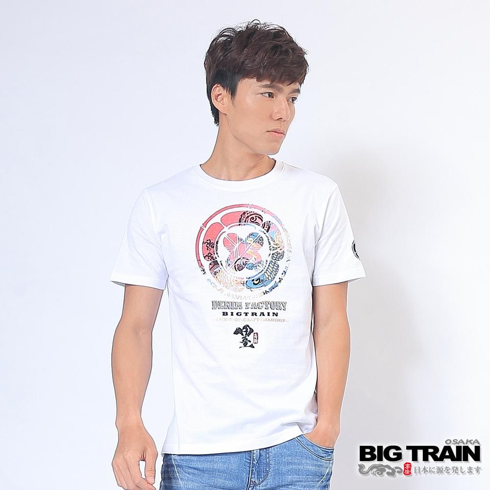 BIG TRAIN 彩色鯉魚圓領T-男-白色