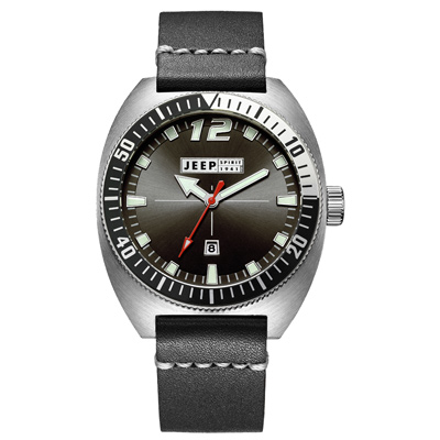 Jeep Spirit 美國指標美式復古風腕錶-銀X黑色/ 47 mm