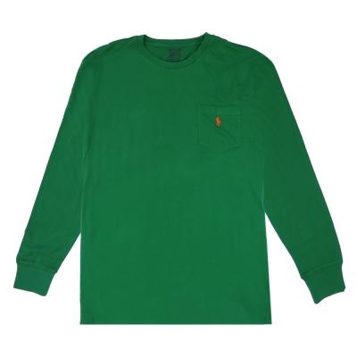 Ralph Lauren 小馬口袋長袖圓領男T(綠)
