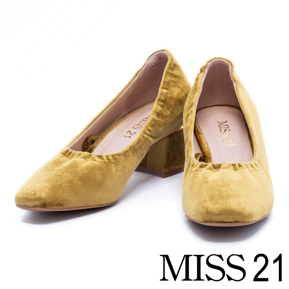 跟鞋 MISS 21 復古絨布金色飾片點綴綁帶粗跟鞋-綠