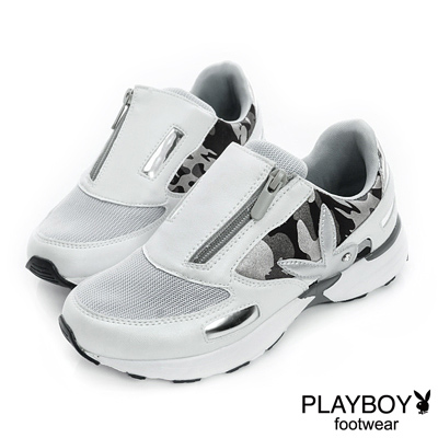 PLAYBOY-時髦革命-迷彩元素個性休閒鞋-銀白-女