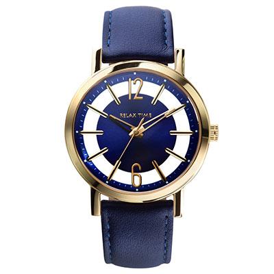 RELAX TIME RT- 56 特別款 鏤空腕錶(RT- 56 - 13 s)-藍x金/ 36 mm